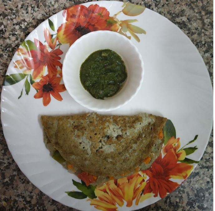 Green Split Moong Daal Dosa with Mixed Vegetable filling and Green Chutney